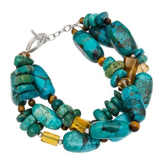 Sterling Silver Turquoise, Tiger's Eye and Citrine Bracelet