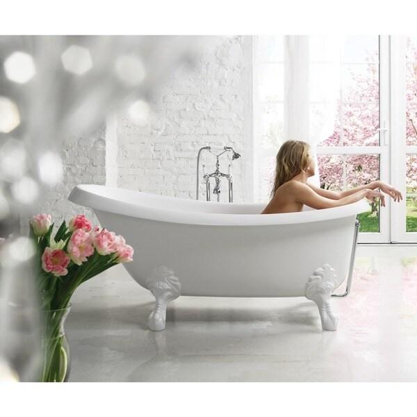 Aquatica Nostalgia-Wht-Stn-Legs Freestanding Cast Stone Bathtub