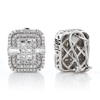 Luxurman 14k White Gold 2 1/2ct TDW Baguette-cut Diamond Omega Earrings