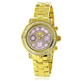 Luxurman Women's Montana Yellow Gold-plated Diamond Accent Pink Watch with Metal Band and Extra Leat