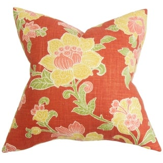Duscha Red and Yellow Floral Feather and Down Filled Throw Pillow
