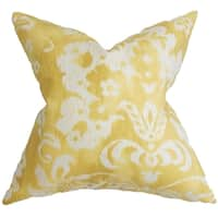 Emese Yellow Floral Feather and Down Filled Throw Pillow