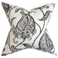 Fenella Black and White Floral Feather and Down Filled Throw Pillow