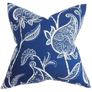 Fenella Blue and White Floral Feather and Down Filled Throw Pillow