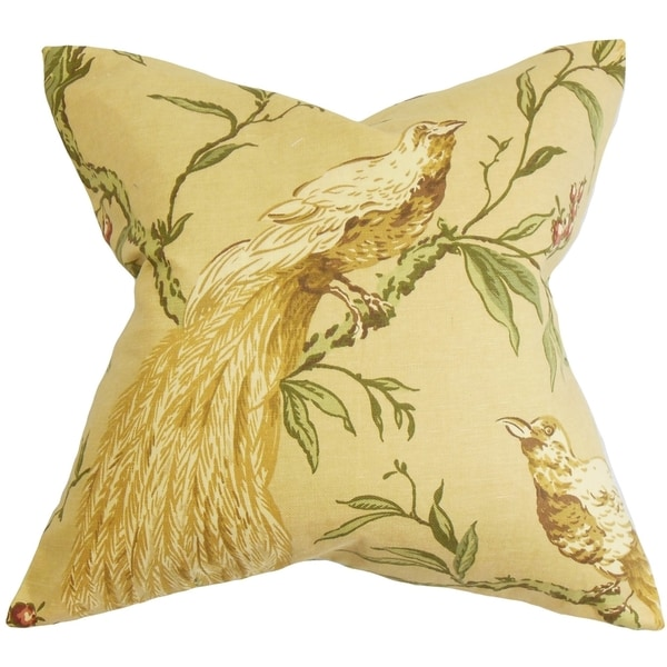 Giulia Yellow and Green Floral Feather and Down Filled Throw Pillow