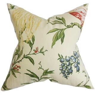 Giulia White and Green Floral Feather and Down Filled Throw Pillow