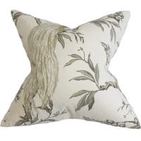 Giulia Green and White Floral Feather and Down Filled Throw Pillow