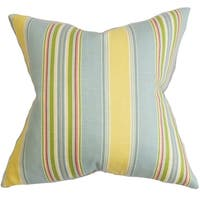 Hollis Stripes Feather and Down Filled Throw Pillow  Blue Yellow