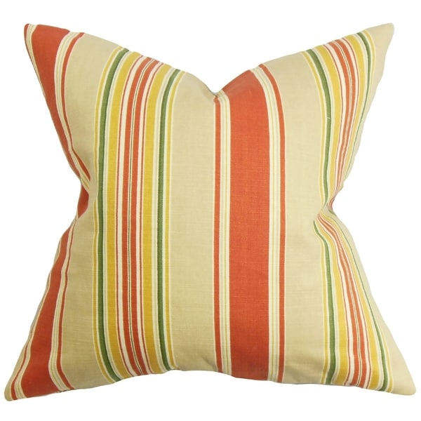 Hollis Orange Stripes Feather and Down Filled Throw Pillow