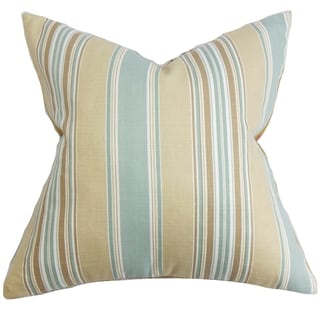 Hollis Blue Stripes Down Filled Throw Pillow