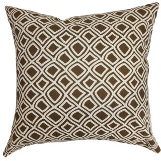 Cacia Geometric Feather and Down Filled Throw Pillow Brown