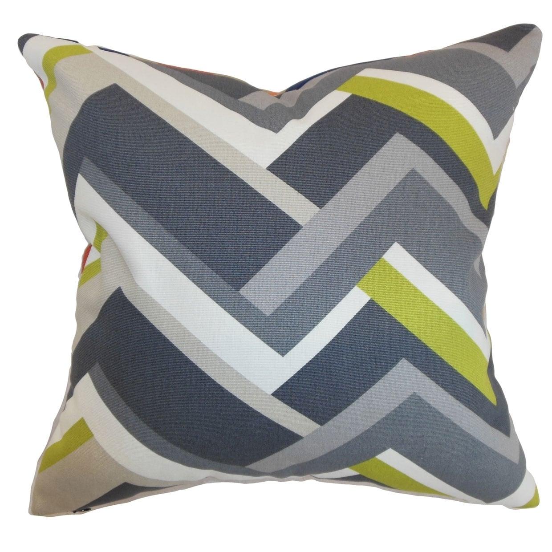 Strick & Bolton Erroll Grey Geometric Down Fill Throw Pillow