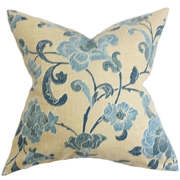 Duscha Blue and Yellow Floral Feather and Down Filled Throw Pillow