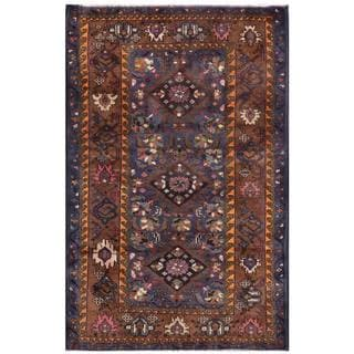 Herat Oriental Semi-antique Afghan Hand-knotted Tribal Balouchi Navy/ Brown Wool Rug (2'9 x 4'5)