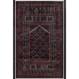 Herat Oriental Semi-antique Afghan Hand-knotted Tribal Balouchi Navy/ Maroon Wool Rug (2'8 x 4'3)