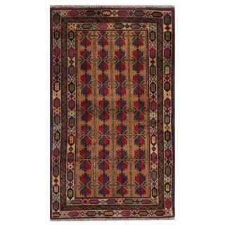 Herat Oriental Semi-antique Afghan Hand-knotted Tribal Balouchi Beige/ Navy Wool Rug (2'11 x 4'11)