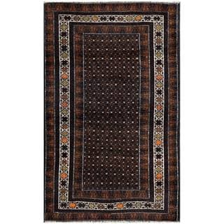 Herat Oriental Semi-antique Afghan Hand-knotted Tribal Balouchi Navy/ Brown Wool Rug (2'7 x 4'2)