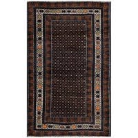 Herat Oriental Afghan Hand-knotted 1960s Semi-antique Tribal Balouchi Wool Rug - 2'7 x 4'2