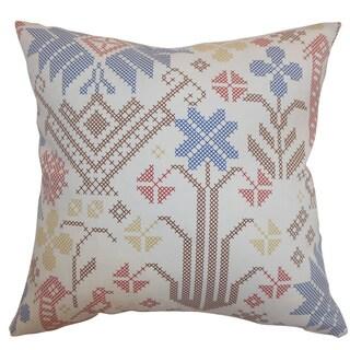Dori Cross Stitch Multi Down Filled Throw Pillow