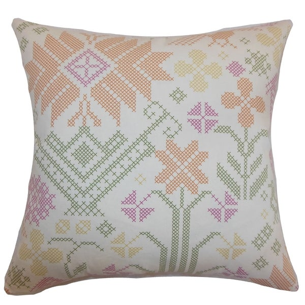 Dori Cross Stitch Summer Down Filled Throw Pillow