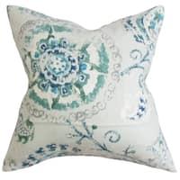 Riah Floral Down Fill Throw Pillow Blue