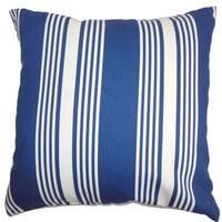 Perri Stripes Down Filled Throw Pillow Blue White