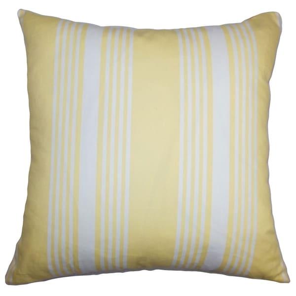 Perri stripes down filled throw pillow white yellow free shipping today 16232649 - Whiten yellowed pillows ...