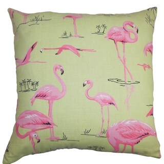 Qusay Animal Print Down Filled Throw Pillow Green Pink