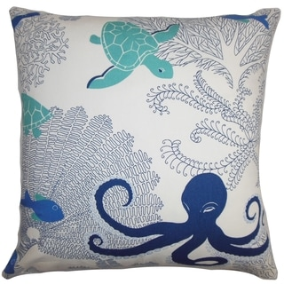 Ondine Coastal Blue White Down Filled Throw Pillow