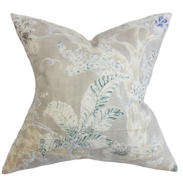 Satriya Floral Down Fill Throw Pillow Royal Blue
