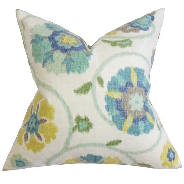 Blue Down Throw Pillows : Tarian Floral Down Fill Throw Pillow Blue - Free Shipping Today - Overstock.com - 16232673
