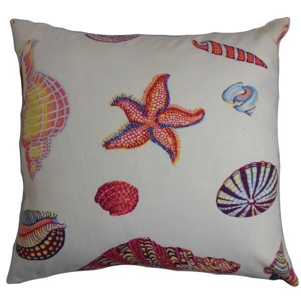 Rayen Coastal Down Filled Throw Pillow White Pink