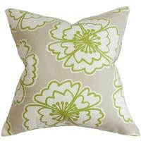 Winslet Floral Down Fill Throw Pillow Gray