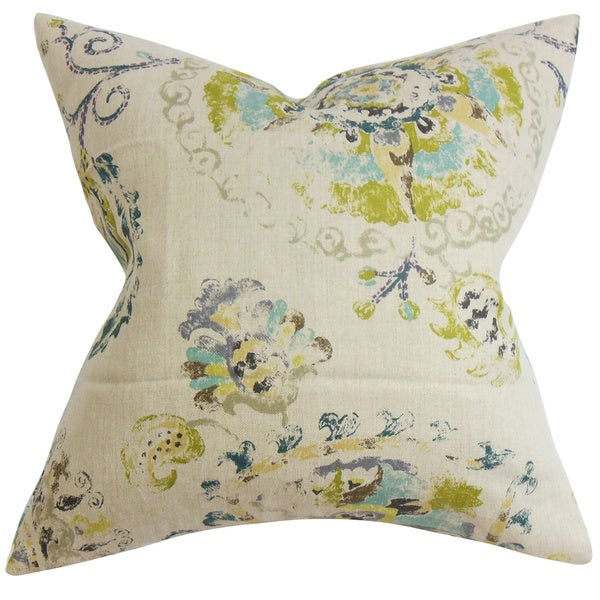 Riah Floral Down Fill Throw Pillow Turquoise