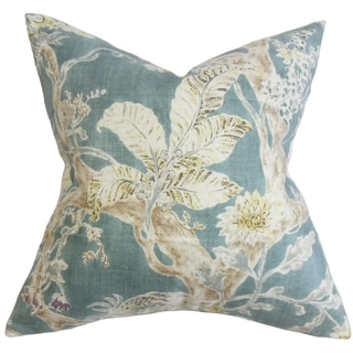 Satriya Floral Down Fill Throw Pillow Blue