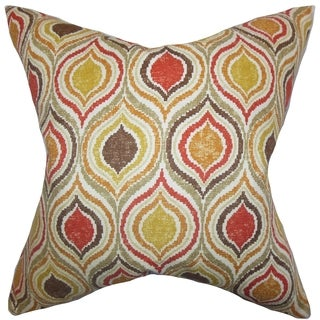 Xylon Geometric Down Fill Throw Pillow Orange