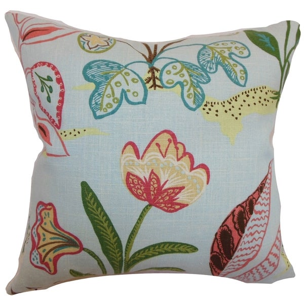 Unayzah Sky Blue Floral Down Filled Throw Pillow