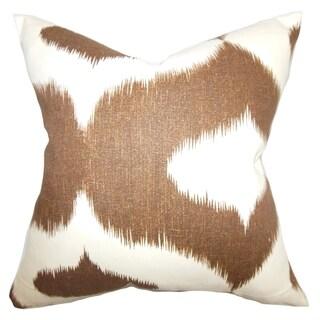 Leilani Brown Ikat Down Filled Throw Pillow