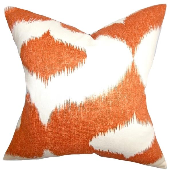 Shop Leilani Bright Orange Ikat Down Filled Throw Pillow