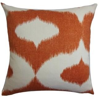 Leilani Orange Ikat Down Filled Throw Pillow
