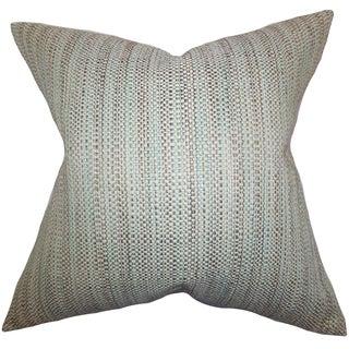 Zebulun Woven Aqua Down Filled Throw Pillow