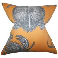 Aeliena Orange Coastal Down Filled Throw Pillow