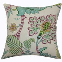 Elodie Teal Floral Down Filled Throw Pillow
