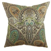 La Ceiba Emerald Paisley Down Filled Throw Pillow
