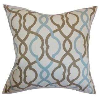 Adiyaman Moorish Geometric Aqua Cocoa Down Filled Throw Pillow