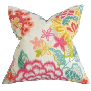 Lindsay Pink Floral Down Filled Throw Pillow