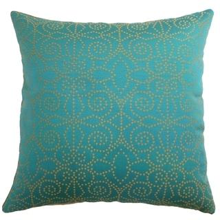 Makemo Aqua/Gold Dots Down Filled Throw Pillow