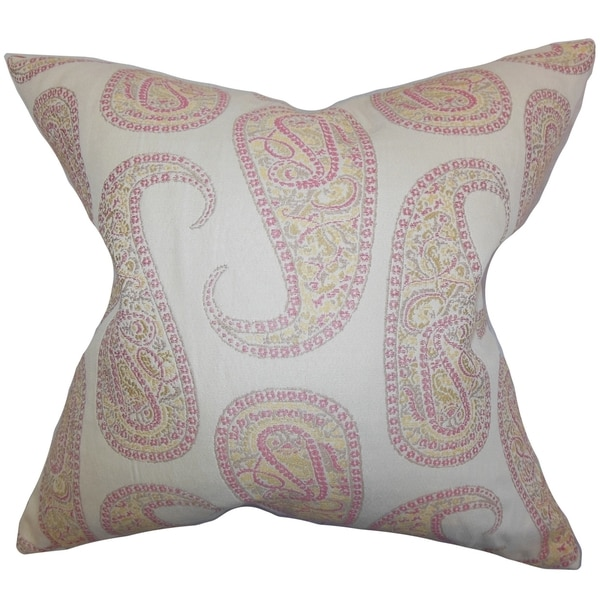 Amahl Paisley Down Fill Throw Pillow Pink