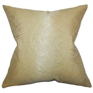Cashel Paisley Down Fill Throw Pillow Gold