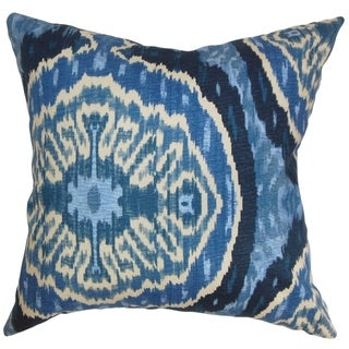 Iovenali Ikat Down Fill Throw Pillow Blue